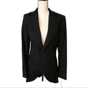 Ralph Lauren Black Label 100% Wool Black Blazer Coat Suede Collar Size 12